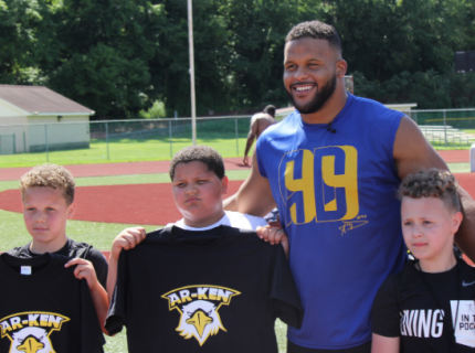 Aaron Donald with youth